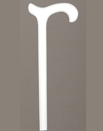 Beech Cane, white with Derby Handle