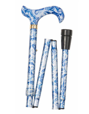 Fashion Folding Derby Walking Stick, Blue Paisley