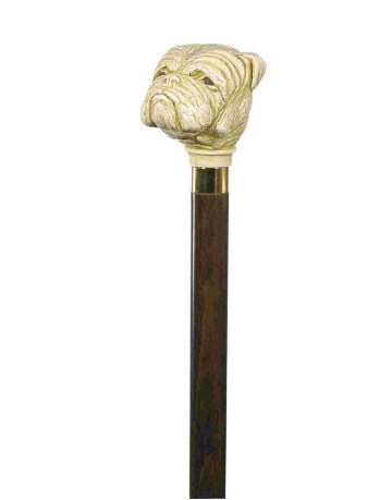 Bulldog, Imitation Ivory Collectors Cane