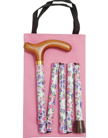 Folding Petite Handbag Cane with Wallet, Pink Floral