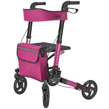 Foldy Easy Folding Lightweight Rollator | Pink